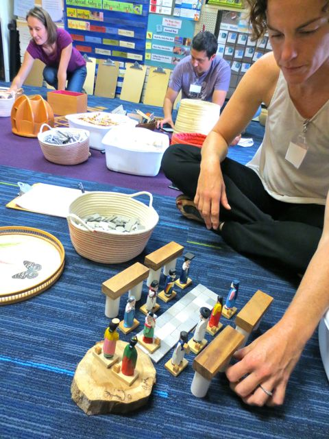 Parents attend a workshop on small world play. Part of the parent education curriculum at Takoma Park Cooperative Nursery School.