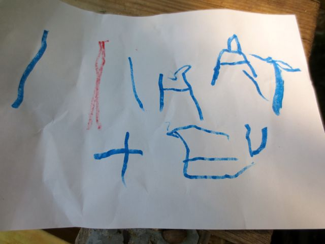 "This says, ""I hate blue toad."" The blue marker is an important choice."