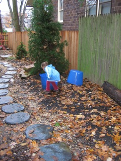 The children collect water on a rainy day. They look for buckets and containers. More water is always better.