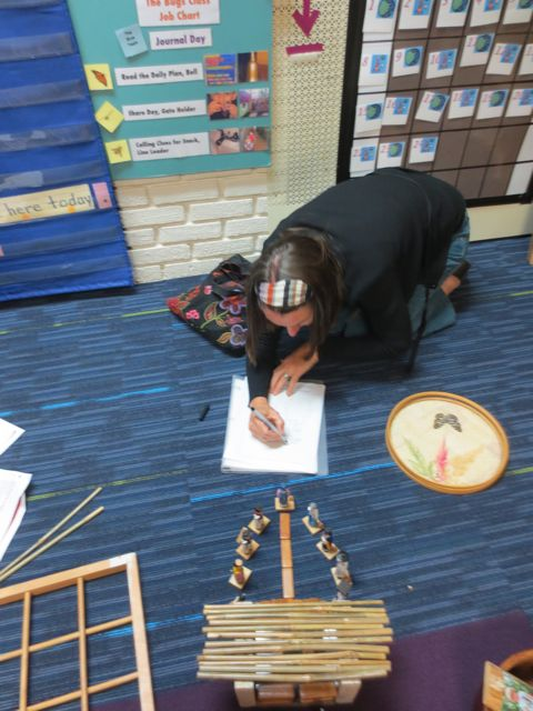 A parent documents her small world play during a training session on scaffolding play.
