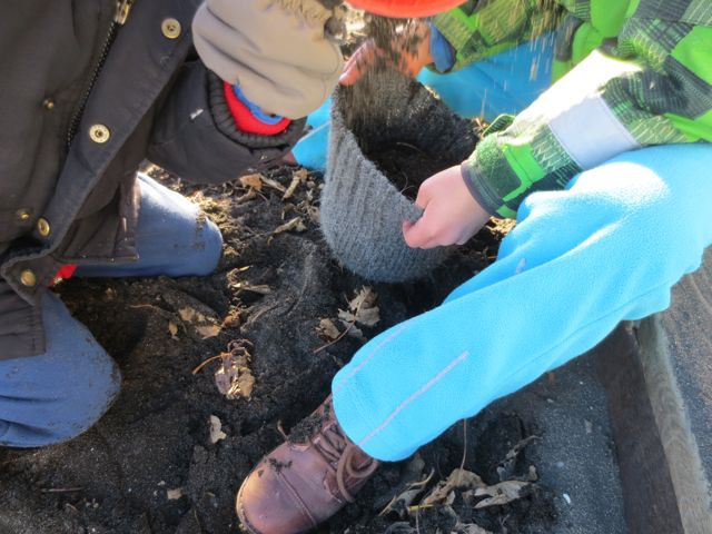 The children use their hats to collect treasure (lava sand). Outside at Hjallastefnan.