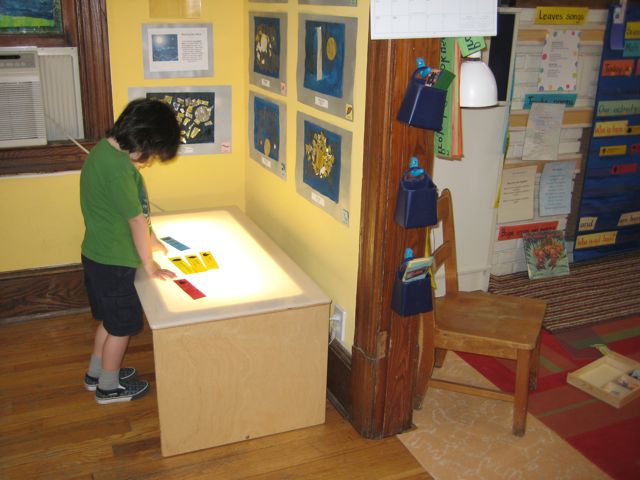 Light table holds the children's symbols