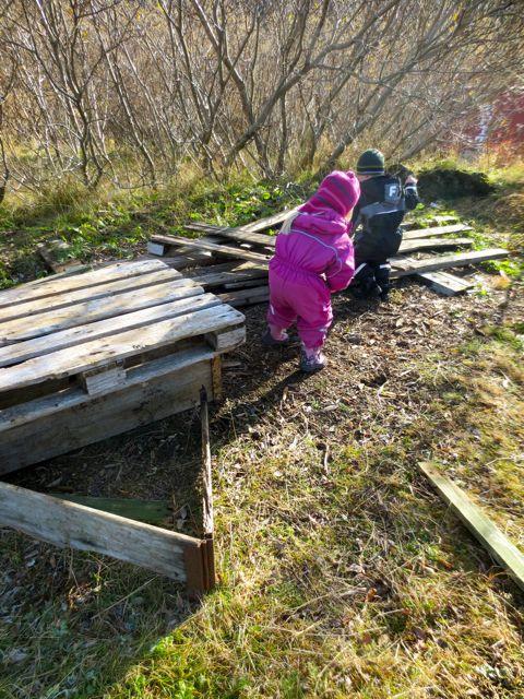 Outside with the Stekkjarás children