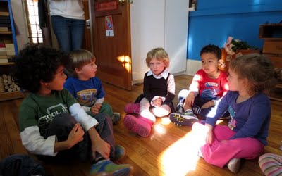 At the end of the dramatic play session, the children found themselves next to new friends.