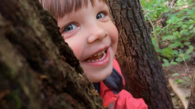 A tree frames the smiling face of one of the children from Lauko darželis.