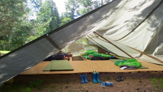 The sleeping tent at Lauko darželis. Think for a moment and remember how you felt after a nap outside!