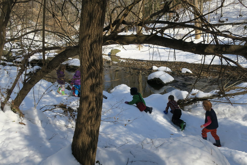 Training eye and head movement. The snow provides an additional challenge as children use their whole bodies to balance and adjust to sliding motions and track the landmarks. The movement of the chunks of snow and ice running in the stream also provide focal and reference points.