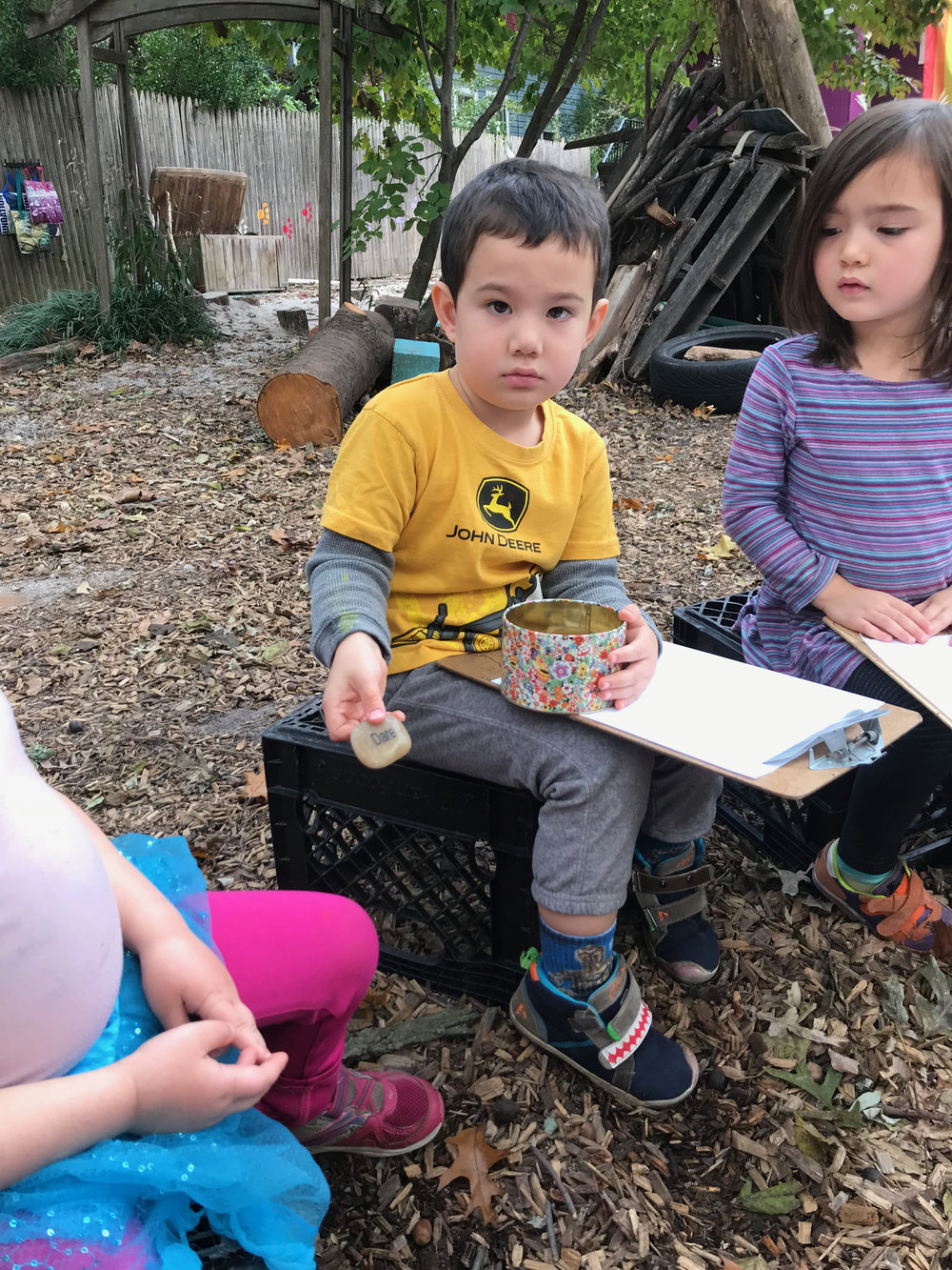 """The children choose an etched word stone to begin their poem. This word is featured in the title of the poem and in the poem itself, for example this child's poem is """"I Dare."""""""