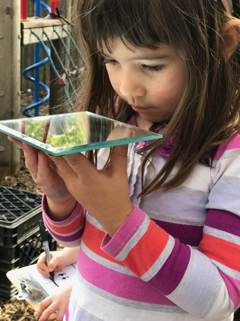 """The children use a mirror to look at their world through """"new eyes."""" This action informed the first line of their poem."""