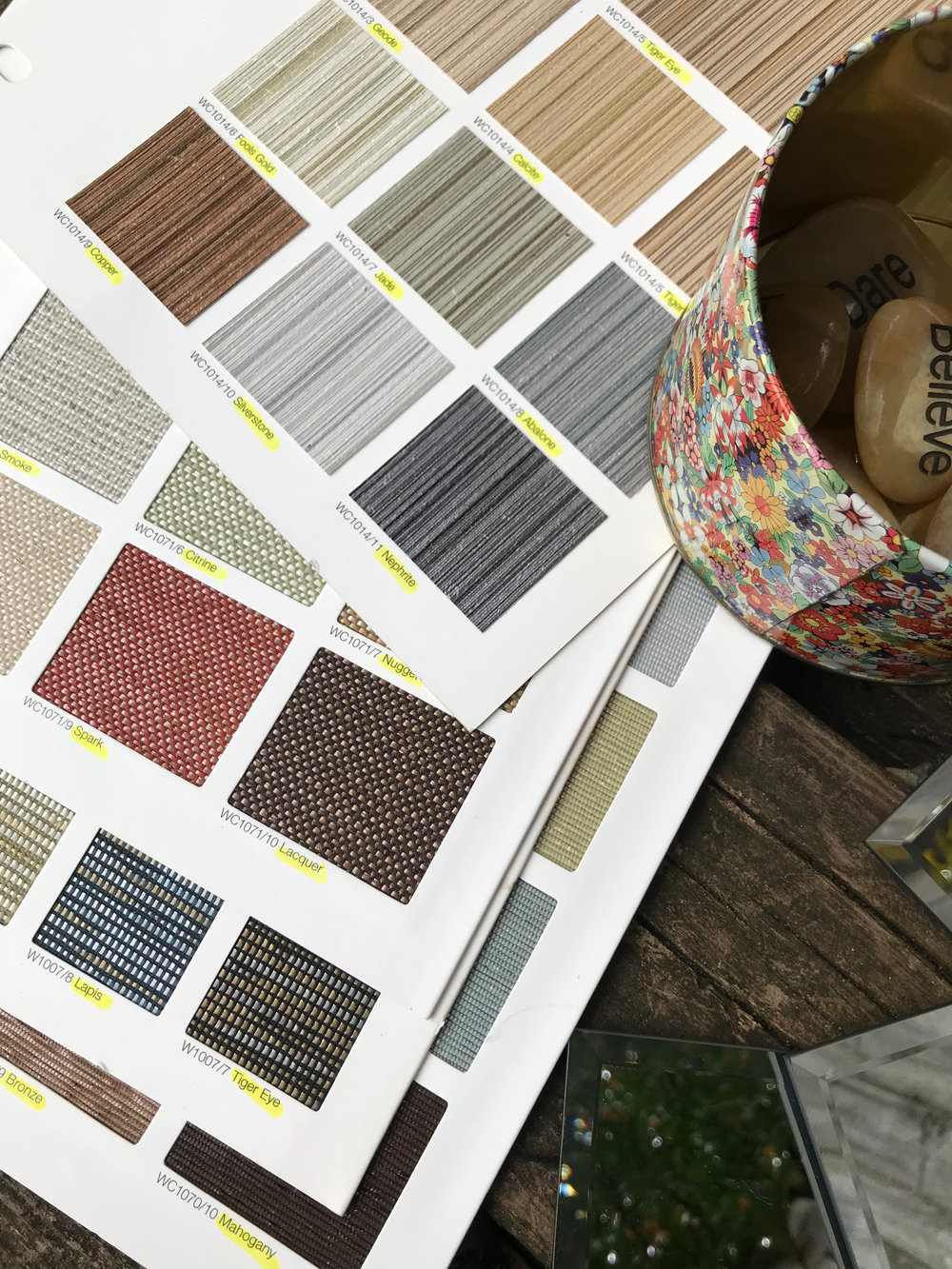 Fabric samples help out with color names.