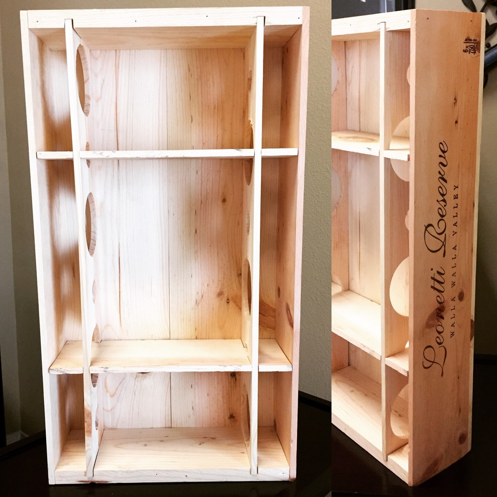 Custom wine crate shelf