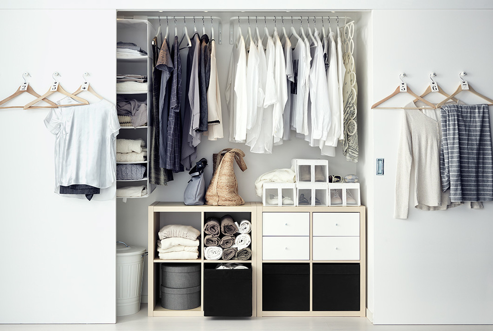 Closet organizers create more options for storing your things out of sight but still at hand, like this layout from  Ikea.