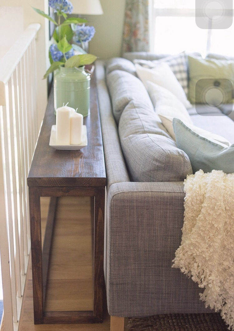 A simple sofa table like this one from  Jenna Sue Design Co.   is quick to make and offers great display options, but little storage.