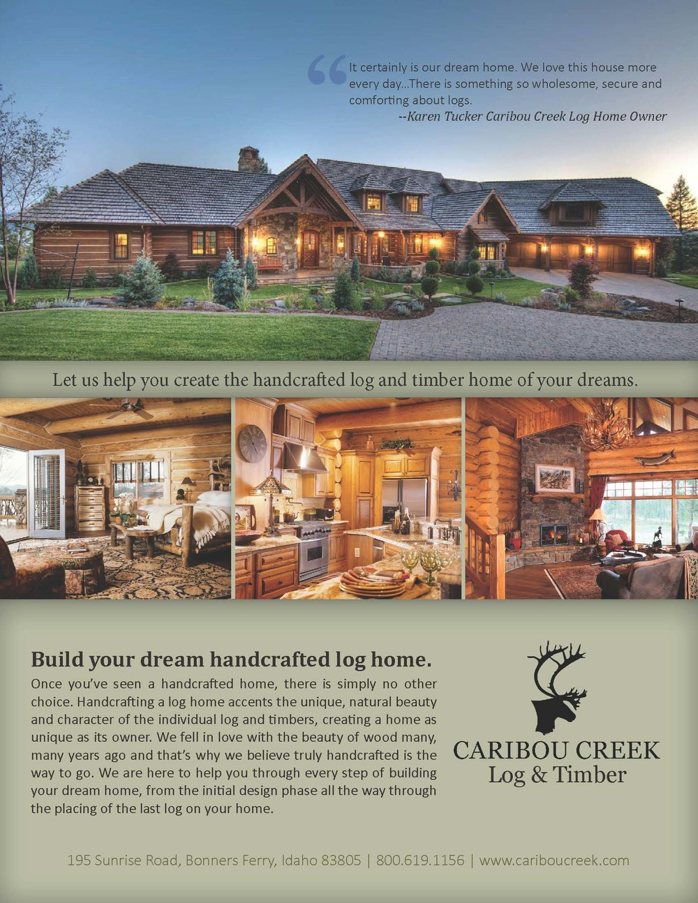 Full-page ad layout for Caribou Creek Log and Timber http://www.cariboucreek.com/