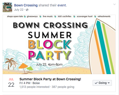 Bown Crossing (Neighborhood Merchants) Facebook page creation and maintenance including event management  https://www.facebook.com/bowncrossing