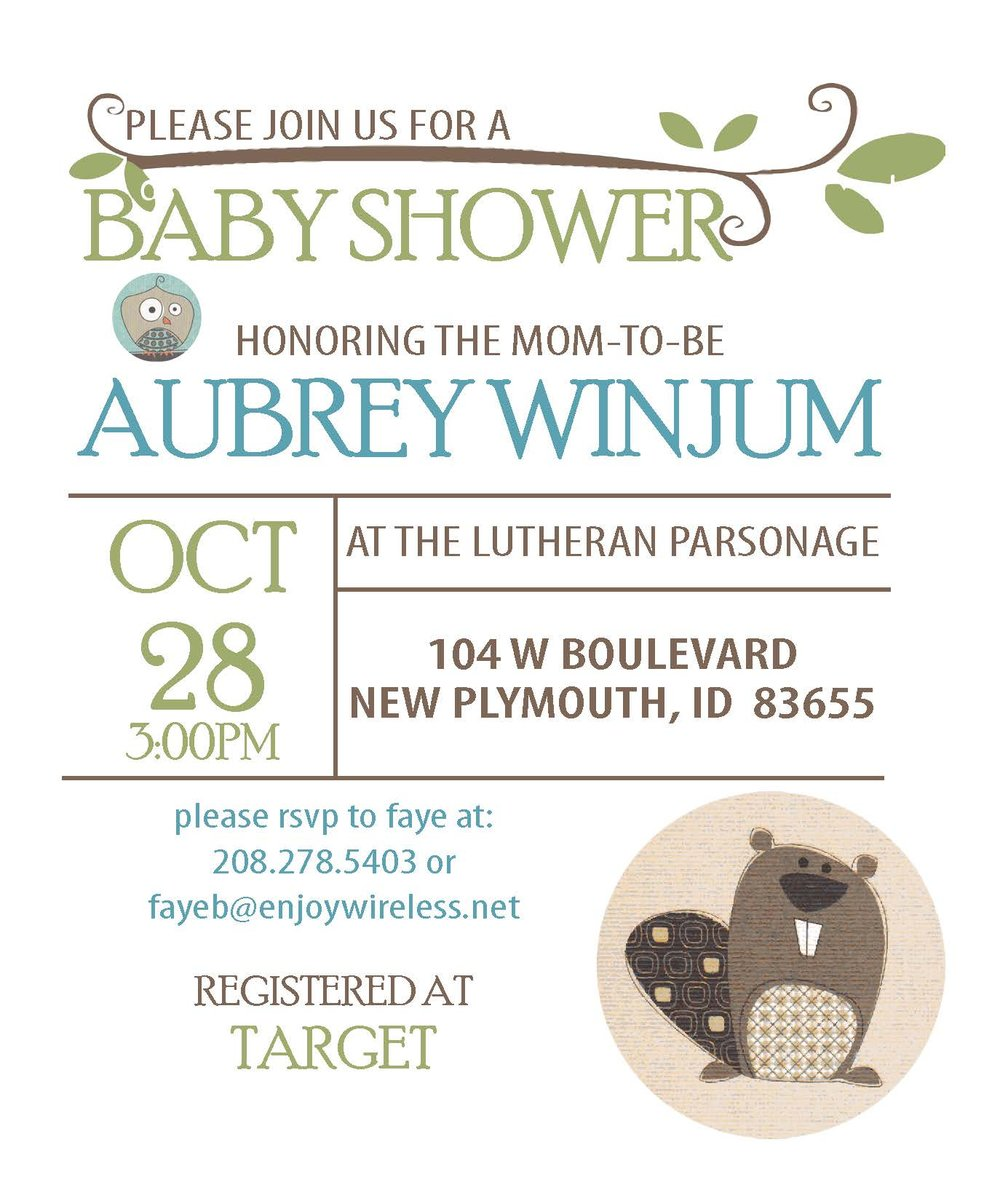 Baby shower invitations and event signage