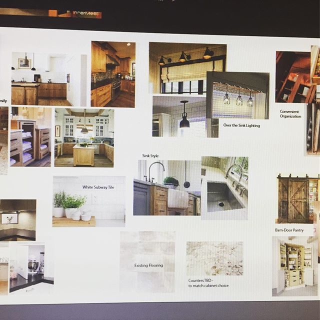 Late night workflow: #ConceptBoard for a #KitchenRemodel  #interiordesign #interiorstyling #designich #designer #rustic #farmhousestyle #woodcabinets #designtrends2017 #barndoors  #lovethehomeyourein #remodel #designforlife