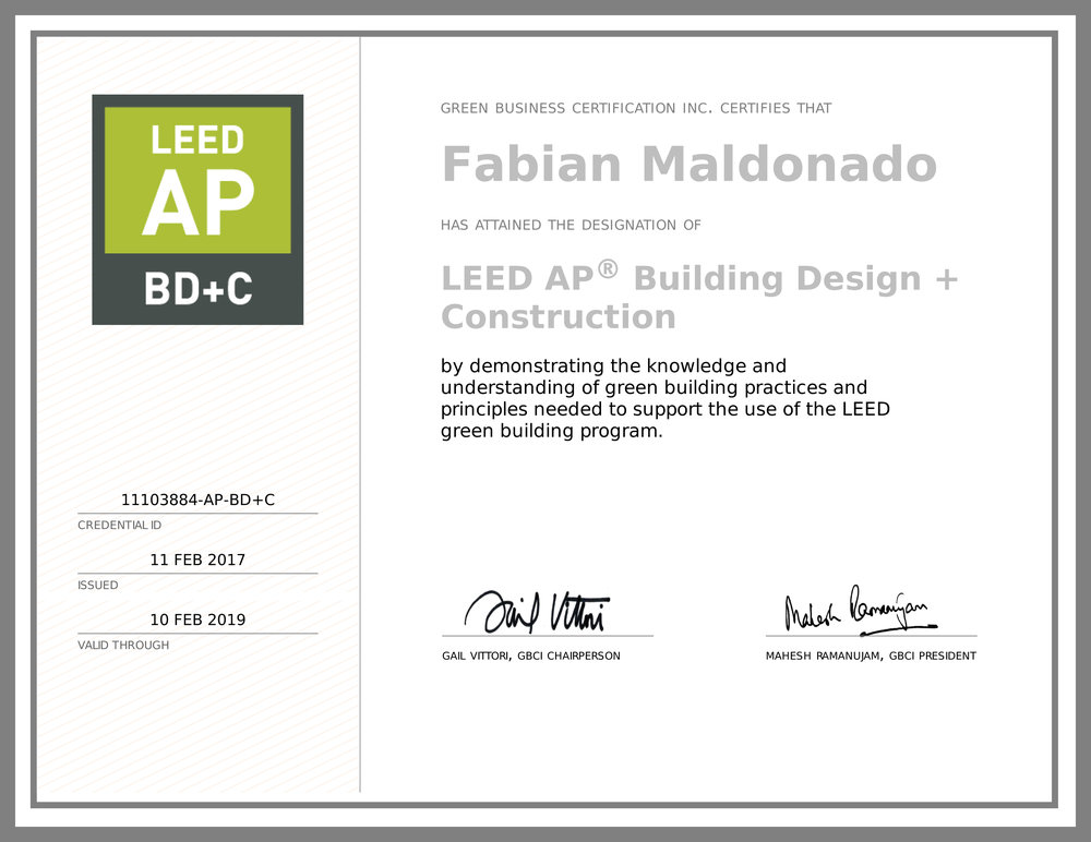 Fabian is now LEED AP BD+C! — VASQUEZ MARSHALL ARCHITECTS