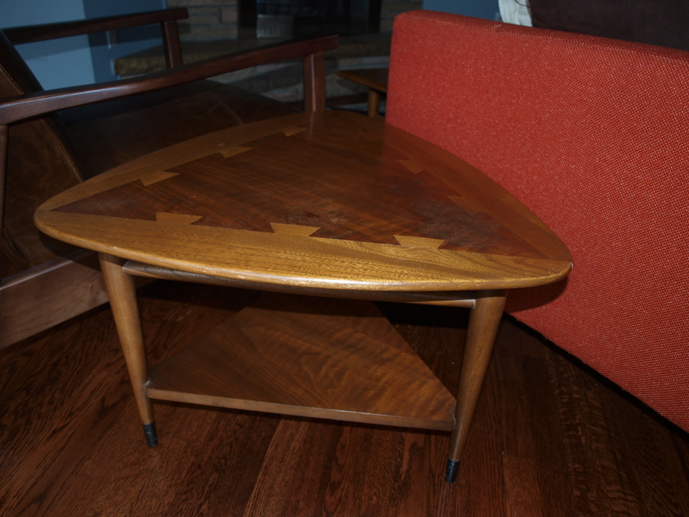 "Lain Acclaim. The ubiquitous living room tables of the 1960s. You can often find these on Craigslist (if not in your area, try eBay). I have 3: a coffee table and 2 ""guitar pick"" end tables."
