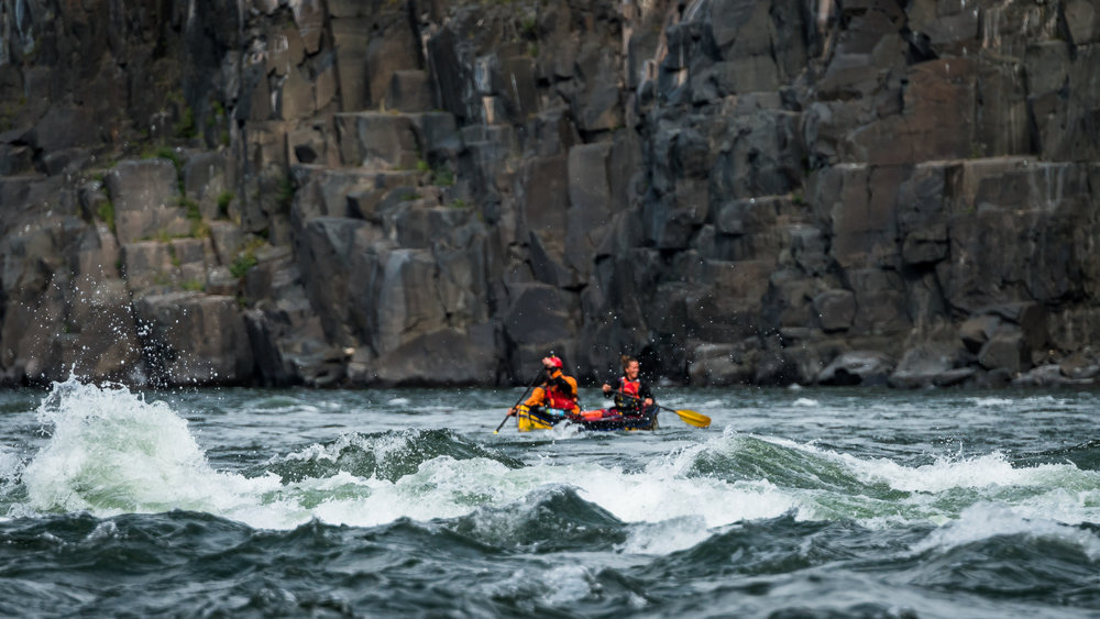 The Coppermine River rapids are not for the faint hearted, geologists navigate them by canoe, fully loaded with gear (Credit: Vivien Cumming)