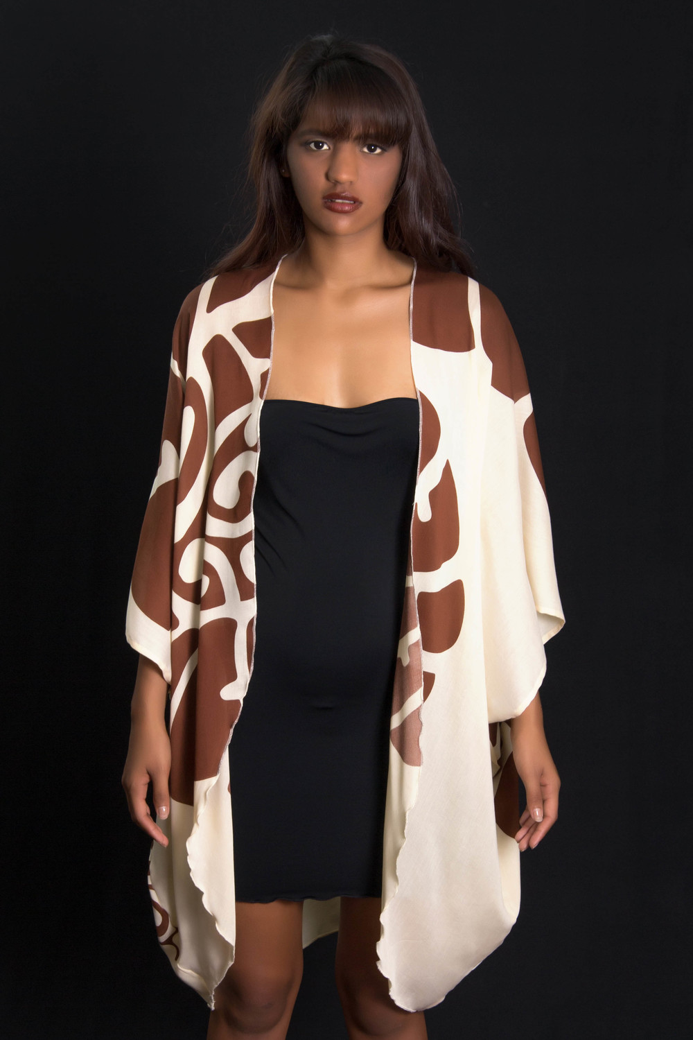 KZHAWAII-Brown Long Cover up Front.jpg