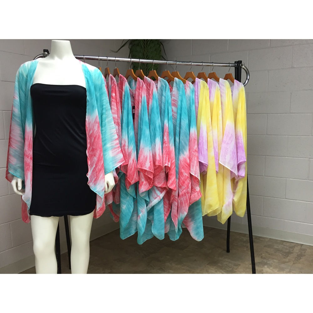 Tie Die chiffon cover ups  avalable at The Clique by KZ  99-1132 Iwaena St  Aiea, Hi  Mon-Fri 9-5  Sat 9-2  Sunday Closed