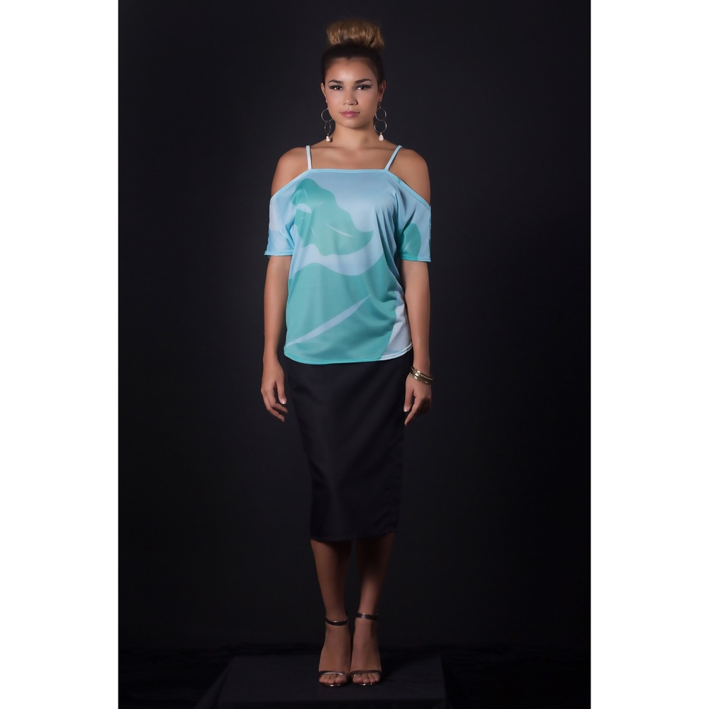 Off the shoulder top green & blue.jpg