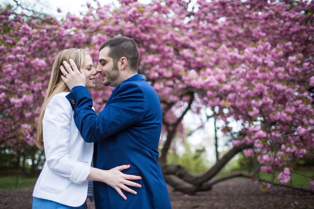 NYC Central Park Engagement Photos with Cherry Blossoms