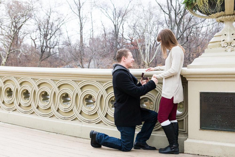 NYC Surprise Proposal on Bow Bridge Central Park