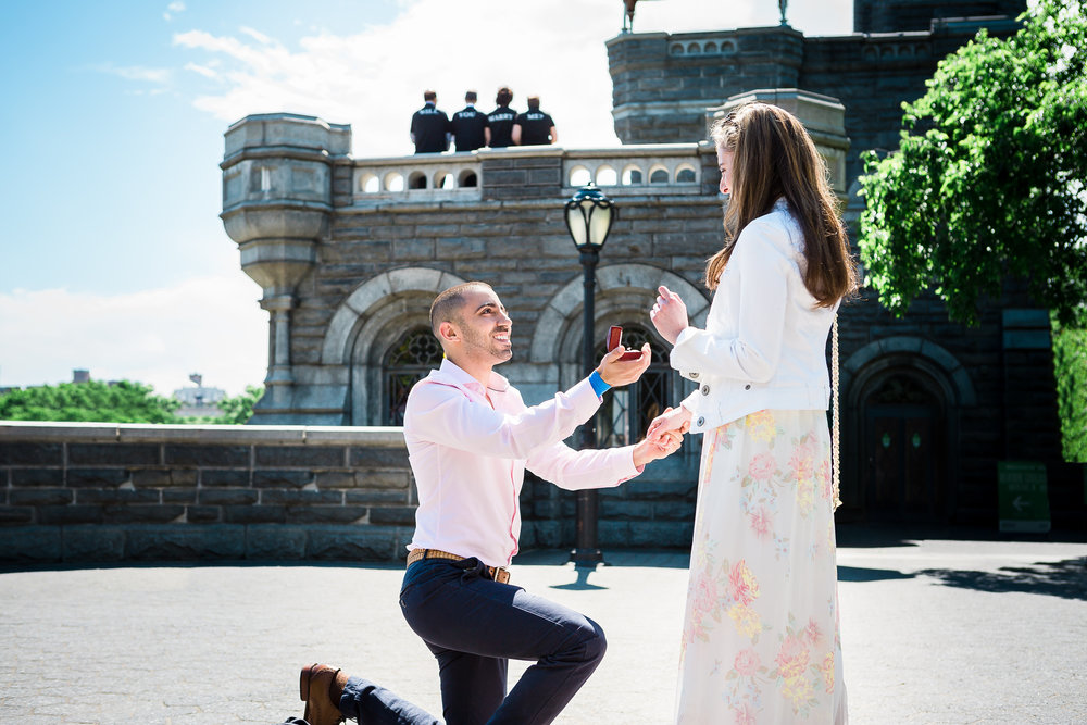 Belvedere Castle Surprise Marriage Proposal in Central Park NYC