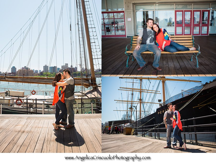 Engagement Session in front of ships