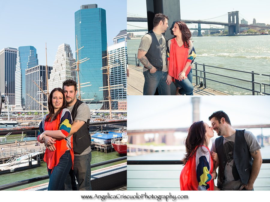 View of Brooklyn Bridge for Engagement Session in New York NYC