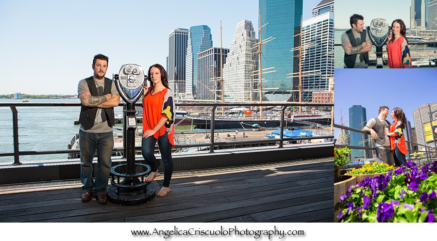 Engagement session in NYC South Street Seaport