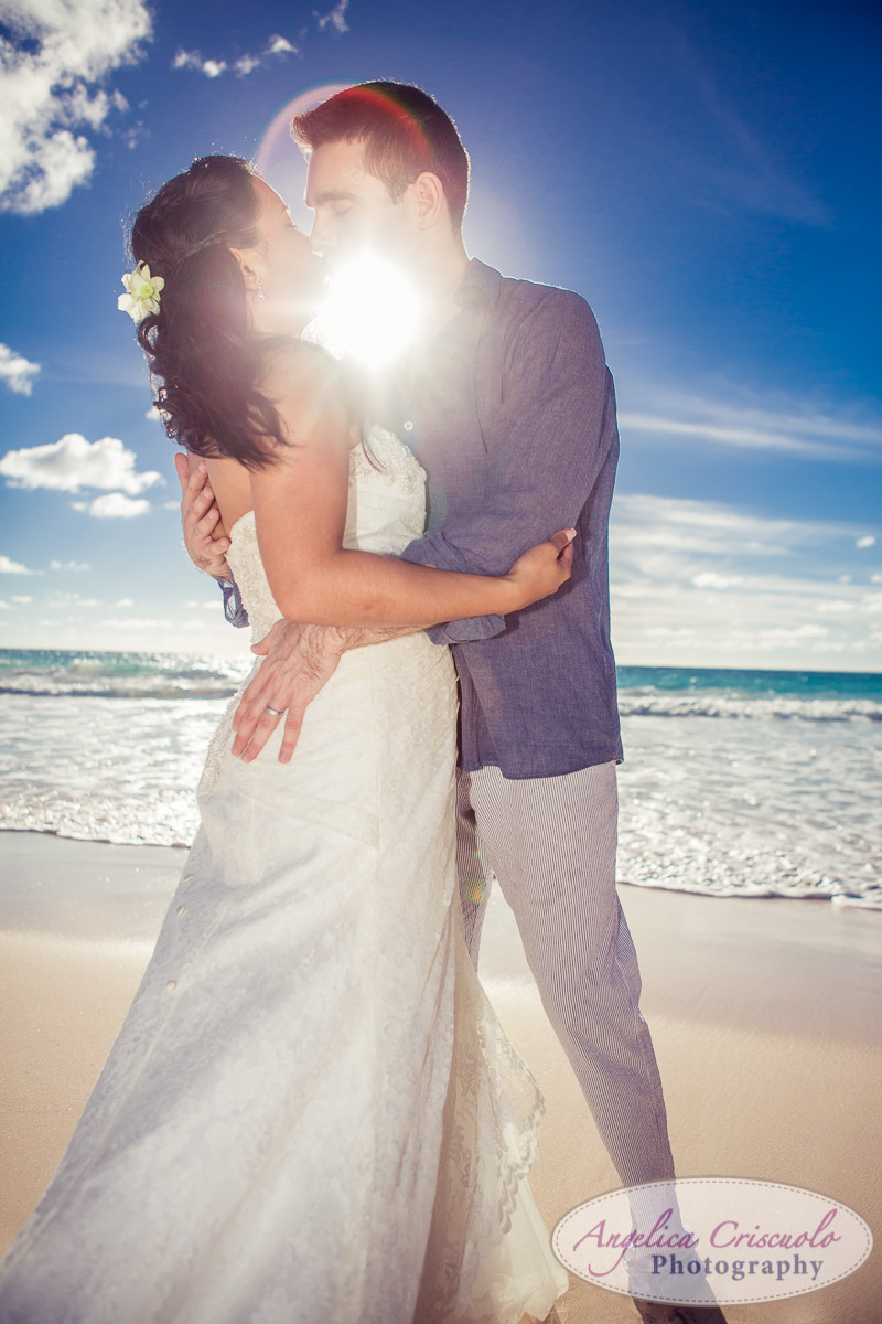 trash the dress session on the beach sun flare photo KristyPhilBarbadosWEB-1094