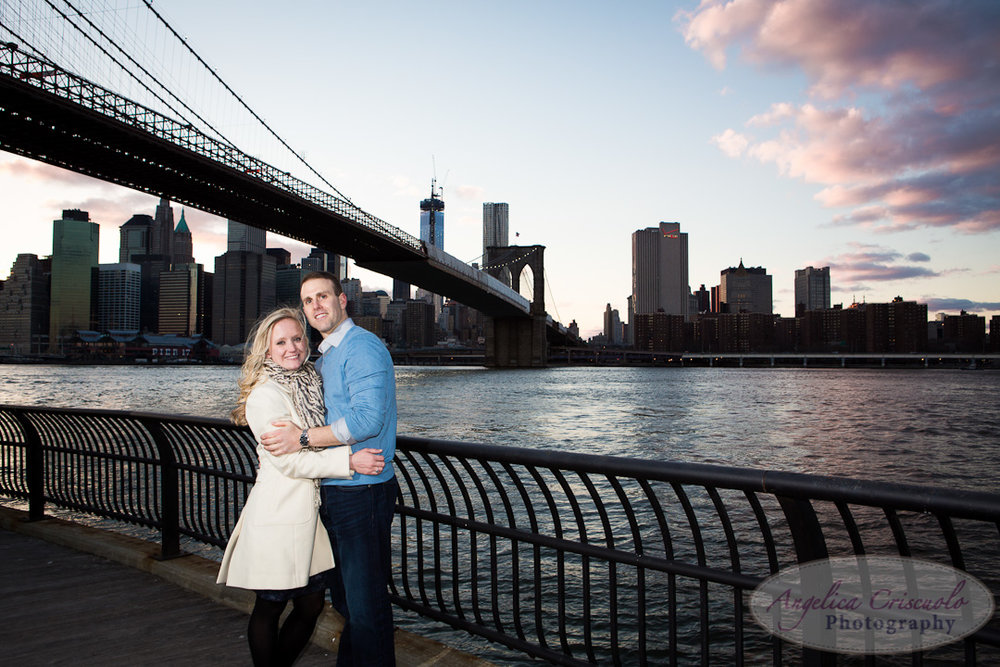 NYC Engagement Photo DumboBrooklyn Bridge Park Dramatic sunset