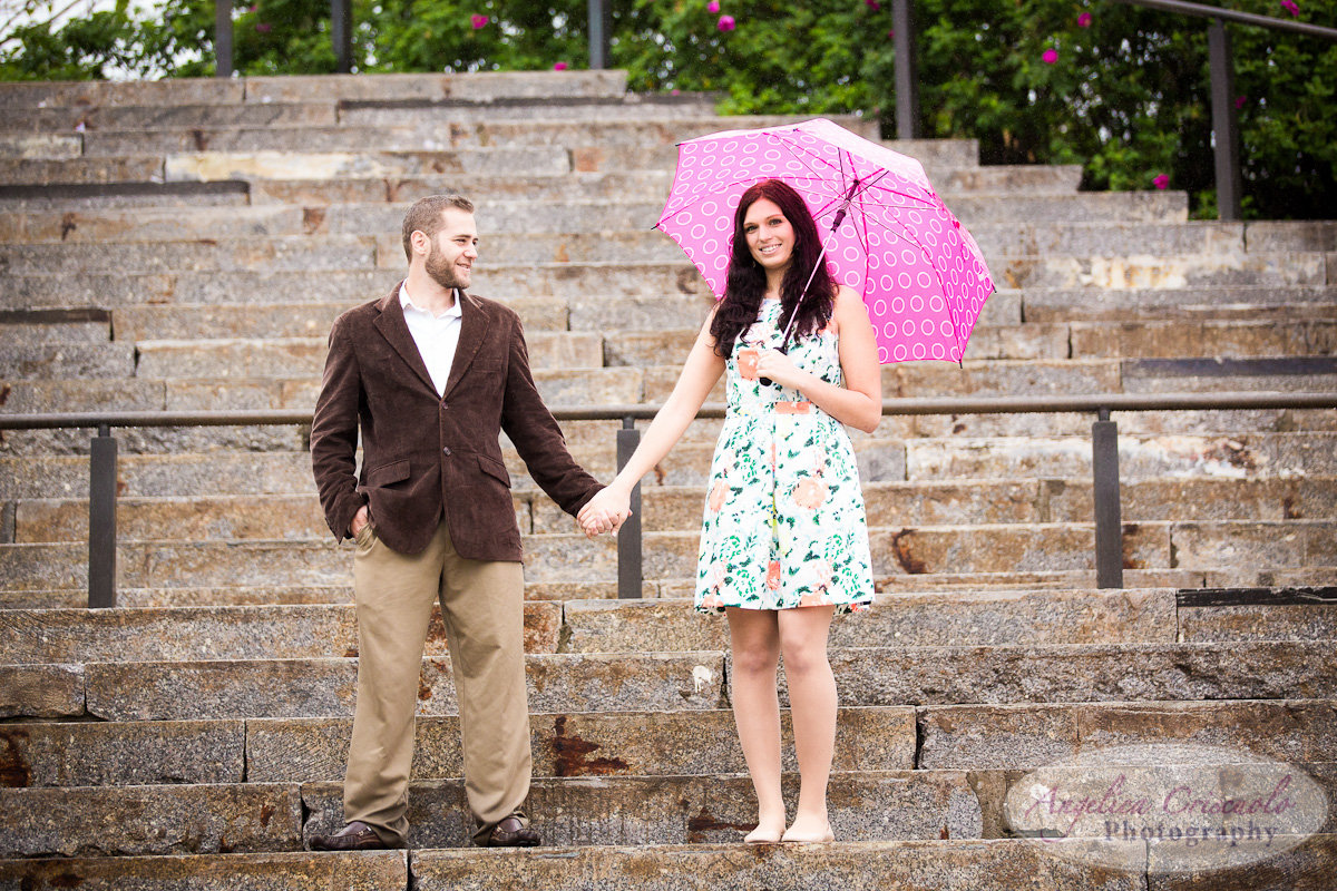 NYC_Engagement_Photography_Brooklyn_Promenade_DUMBO_Rain and Umbrella Photos Stairs