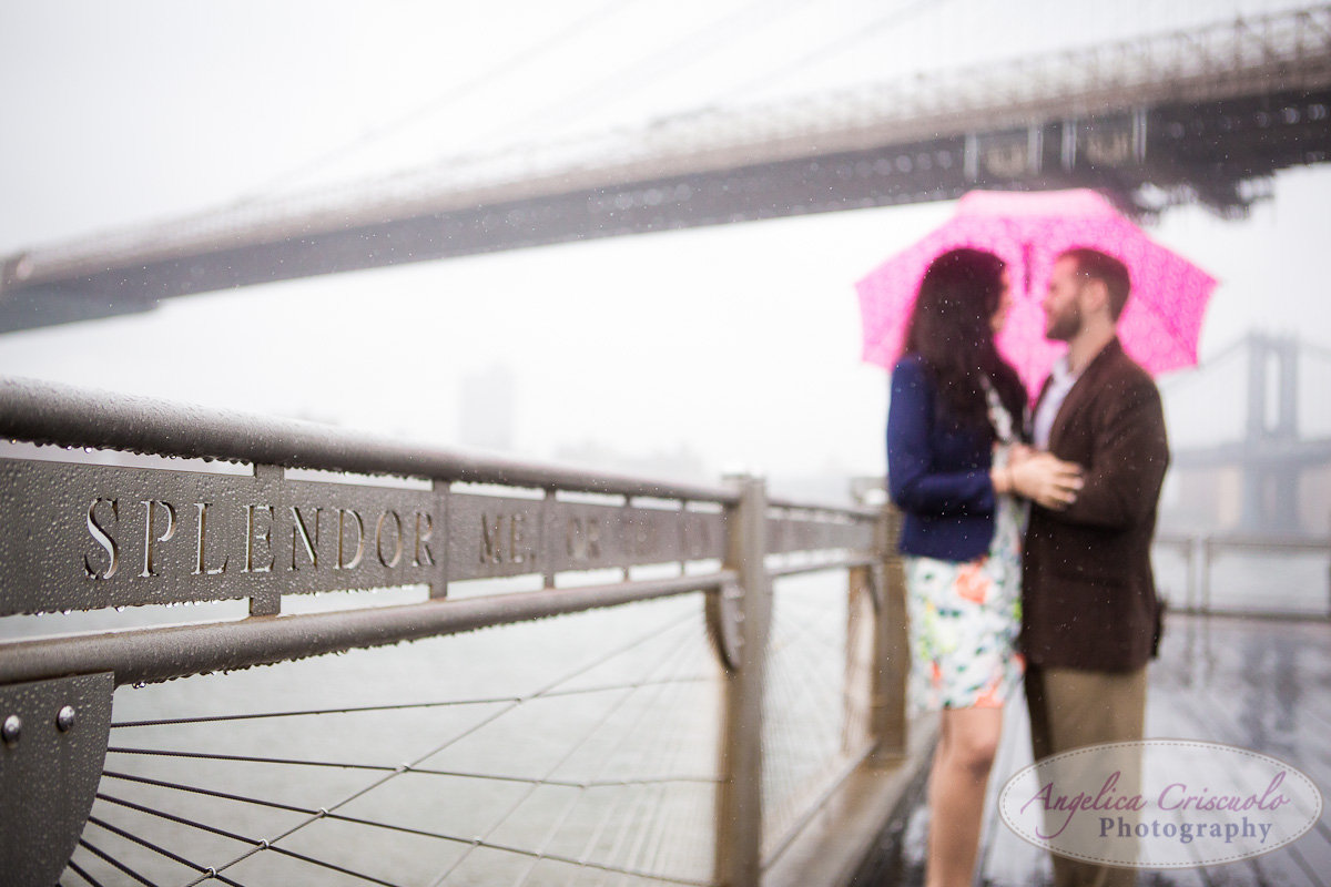 NYC_Engagement_Photography_Brooklyn_Promenade_DUMBO_Rain and Umbrella Photos