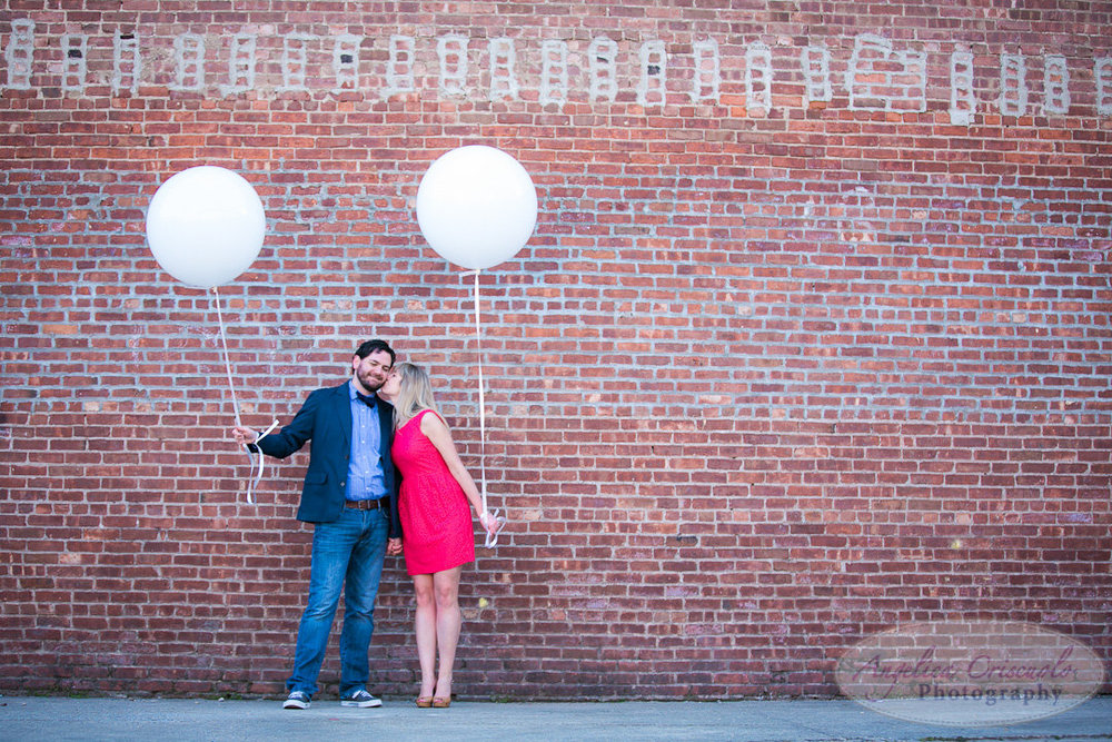 NYC Brooklyn Wedding Engagement Photographer Unique Photos with Balloons in DUMBO