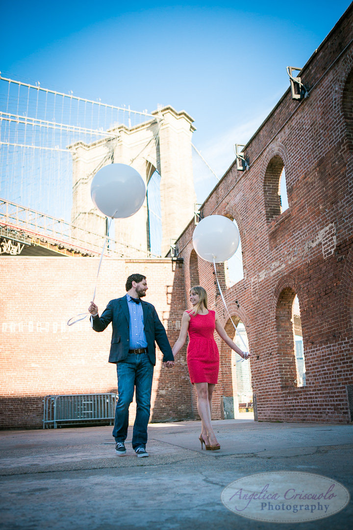 NYC Wedding Engagement Photographer FUn balloons photos Unique in DUMBO Brooklyn Photos