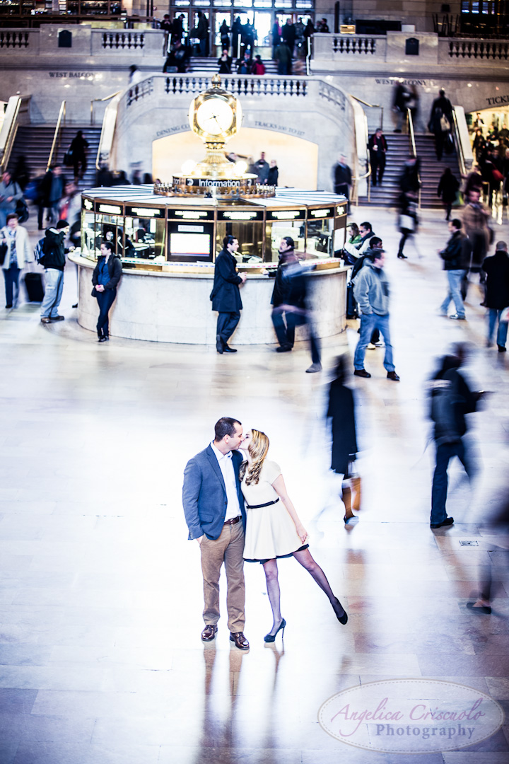 NYC Wedding Engagement Photography Grand Central Balcony Unique Ideas New York