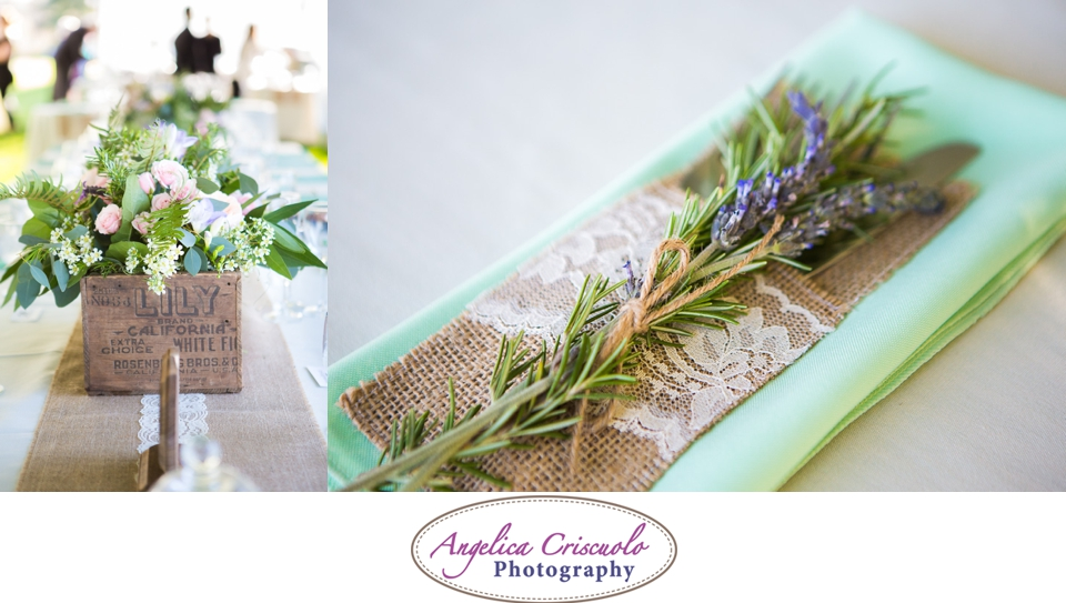 Place Setting Vintage PHoto ideas with Lavender and birch napkin