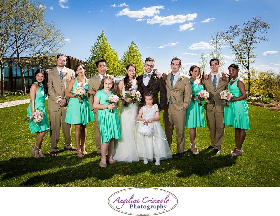 Bridal party wedding Photo ideas green dress in Junto Farms Millbrook New York