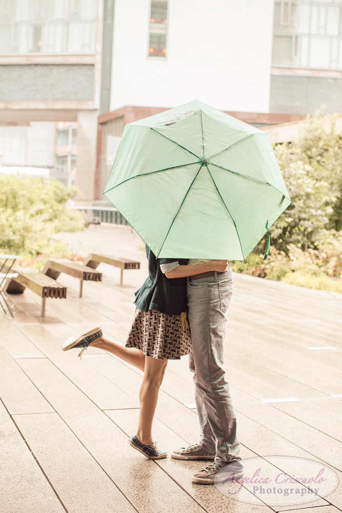 New York City Wedding Photographer Unique Fun Engagement with Umbrella Rain Photos
