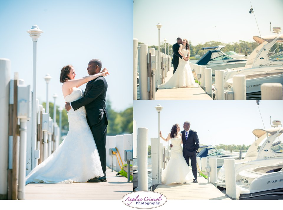 Wedding photos by the pier waterfront