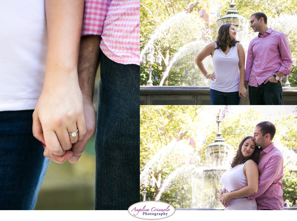 New York City Wedding Photographer Surprise Proposal Ideas in City Hall Park with Engagement Photos