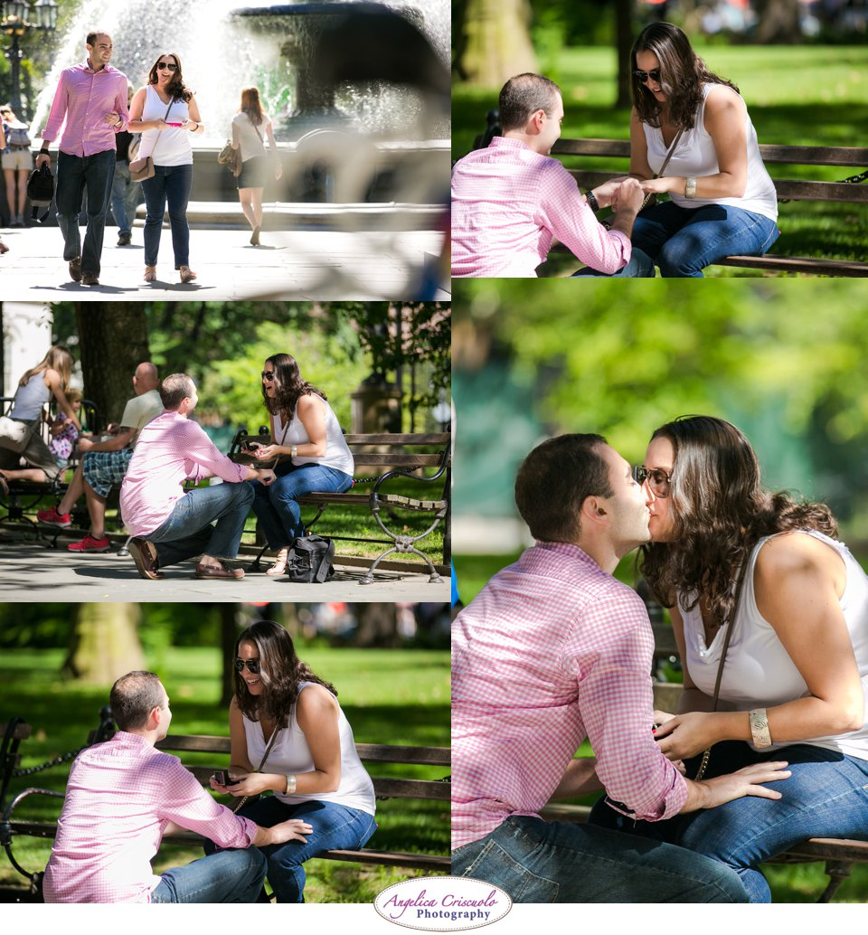 New York Surprise Proposal Ideas in City Hall Park with Wedding Photographer