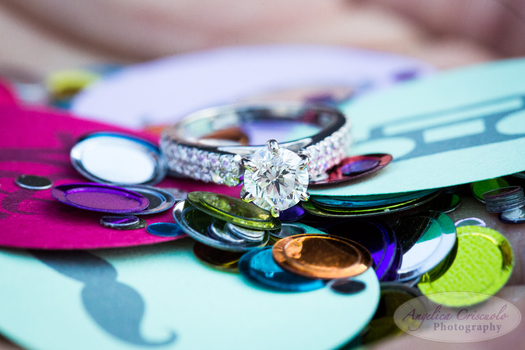 fun engagement photo ideas of ring shots and confetti
