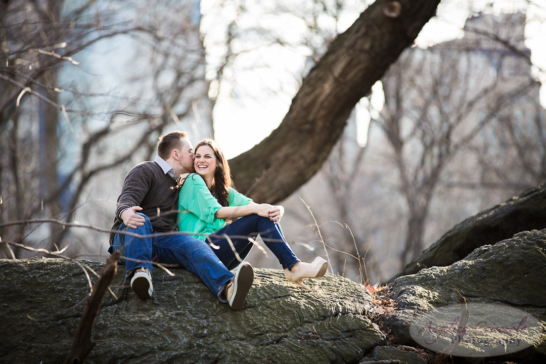NYC Central Park Engagement Photo ideas on top of a rock