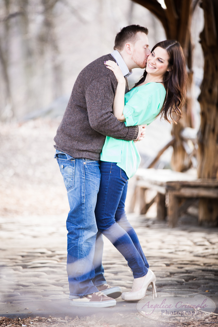 classic new york city engagement photos in Central Park's THe Ramble