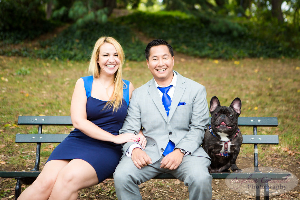 New York City Engagement Photos in Central Park French Bulldog Mike + Melissa